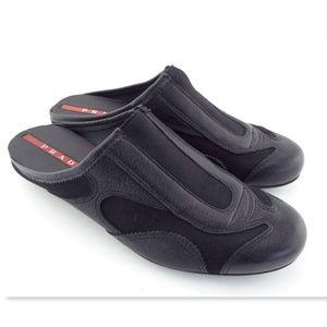 PRADA Black Leather Slip On Mule Flats Shoes 37.5